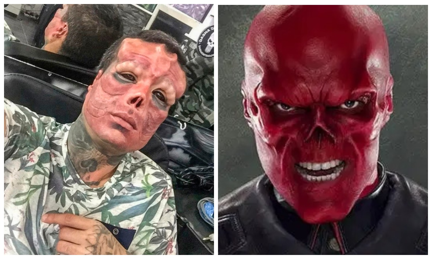 The Spaniard who cut off his nose and made horns to look like the Red Skull from The Avengers